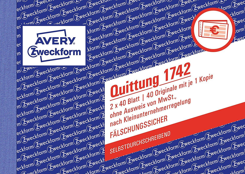 3er Multi-Pack Avery Zweckform 1742 Quittung Kleinunternehmer (A6 quer, selbstdurchschreibend, 2x40 Blatt) weiß/gelb 2x40 Blatt) weiß/gelb