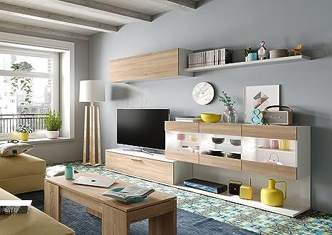 Habitdesign 0F6676BO - Mueble de Comedor, Mueble Salon con Leds, Medidas: 260 x 84 x 41 cm de Fondo (Blanco Brillo y Roble Canadian)