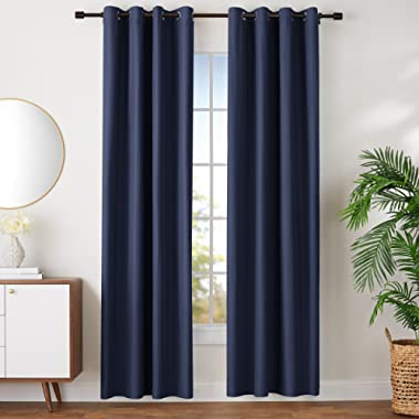 AmazonBasics Room Darkening Blackout Window Curtains with Grommets Set, 52  x 96 , Navy