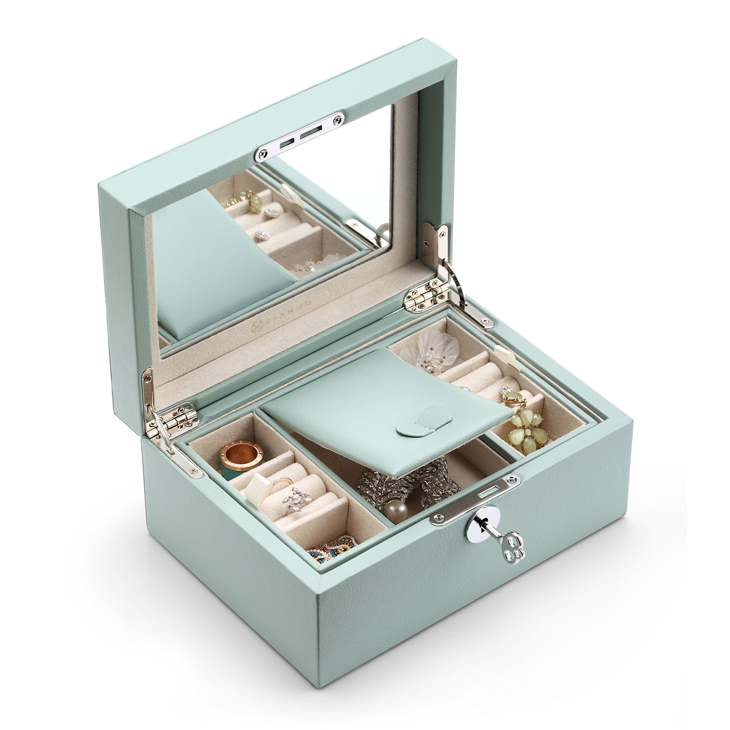 Vlando Lockable Jewlery Box, Two Tray Jewelries Collections Organizer, Girls Gift -Aqua Green