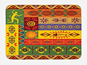 Ambesonne African Bath Mat, Abstract West Folk Art Forms with Unique Lines Print, Plush Bathroom Decor Mat with Non Slip Backing, 29.5