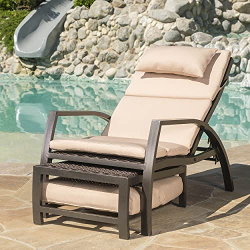 Christopher Knight Home Newmans Outdoor Aluminum Lounge with Water Resistant Cushion in Dark Brown Tan