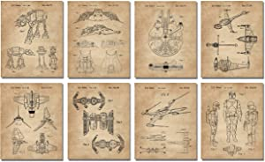 Vintage Star Wars Gifts Set of 8 Wall Art Prints (8x10) Gifts for Men Boys Women Bathroom Bedroom Room Décor Starwars Decorations Retro Home
