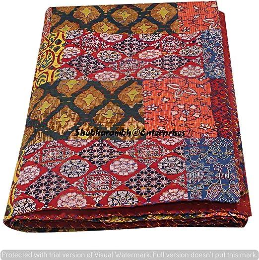 "Jaipur Ajrakh Tapestry Cotton Bed Spread Set 90/"" x 85/"" Full-Queen Orange Indian"