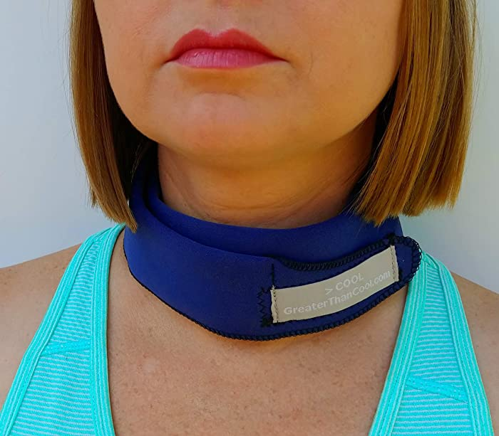Greater Than Cool - Premium Cooling Neck Wrap. Uses ICE to Keep You Cool! (Navy, Regular)