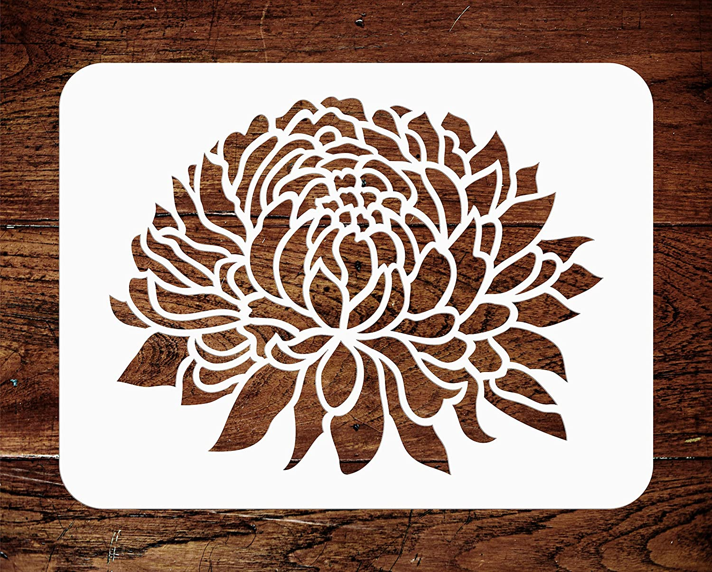 10.16 x 7.62 cm Chrysanthemum Stencil XS - Large Flower Flora Mums DIY Stencils