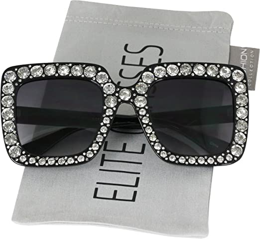 Amazon Com Elite Oversized Square Frame Crystal Bling Rhinestone Brand Designer Sunglasses For Women 2018 Clothing