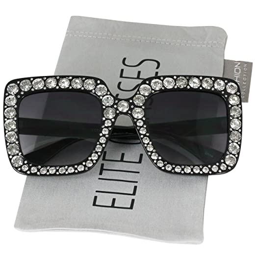 980f19f5e4b2 Elite Oversized Square Frame Crystal Bling Rhinestone Brand Designer  Sunglasses For Women 2018