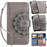 Vofolen for iPhone XR Case Wallet Leather PU Flip Cover Folio Detachable Magnetic Slim Shell Dual Layer Heavy Duty Protective