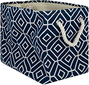DII CAMZ10013 Collapsible Polyester Storage Basket or Bin with Durable Cotton Handles, Home Organizer Solution for Office, Bedroom Closet, Toys, Laundry, Rectangle, Navy