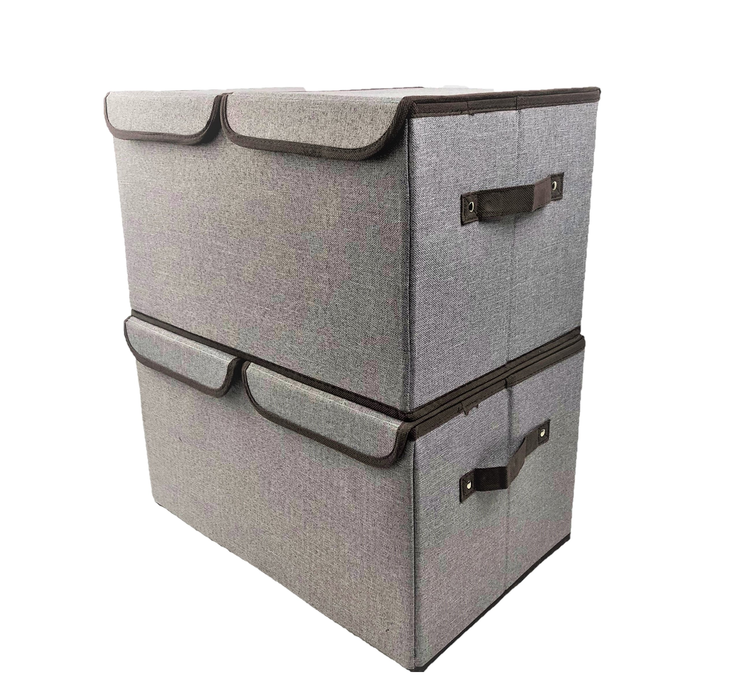 [2-Pack, Large Double Grid] Premium Quality Storage Cubes with Lid Collapsible Basket Shelve Bins Organizer for Toys Gifts Cloth Nursery Bedroom Folding Decorative Closet Home Office Box Declutter by Prorighty