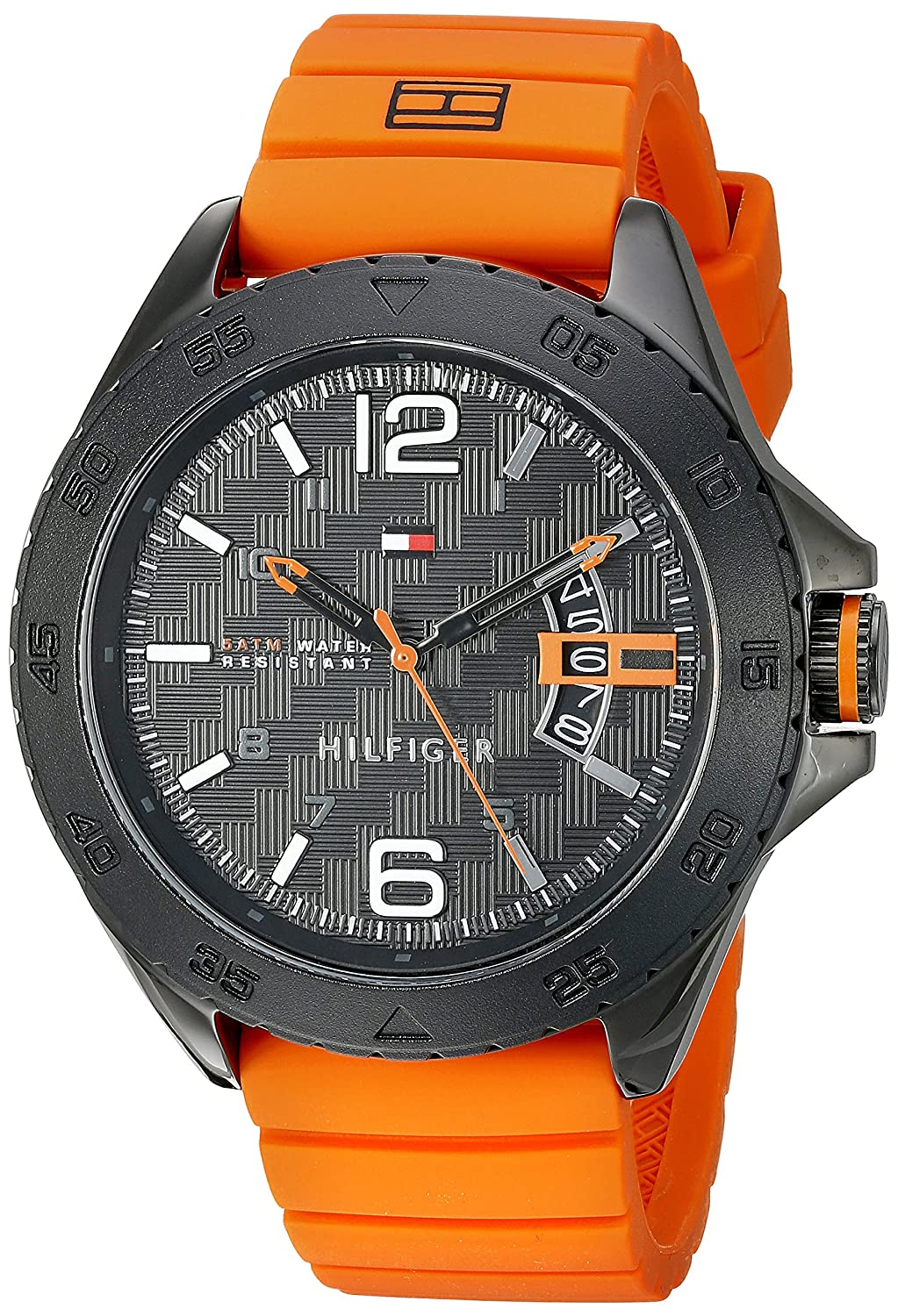 Amazon.com: Tommy Hilfiger Mens 1791205 Casual Sport Analog-Display Quartz Orange Watch: Watches