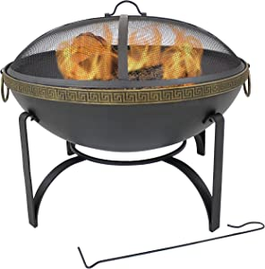 Sunnydaze 26-Inch Diameter Contemporary Steel Outdoor Wood Burning Fire Bowl with Handles and Spark Screen - Outside Metal Backyard Bonfire Patio Fire Pit