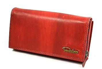 1d682ca3a3df4 flevado Große Damen Leder Geldbörse Damen Portemonnaie mit viel Stauraum in  Red Vintage Design mit 22