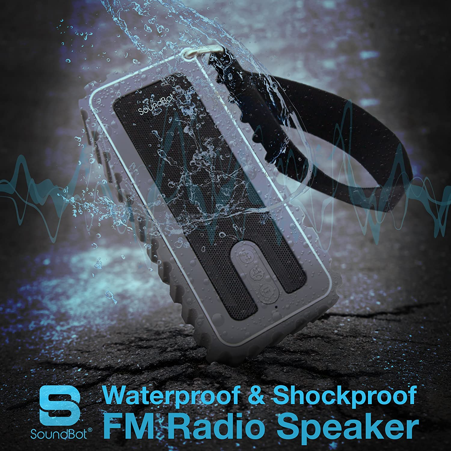 SB515FM Bluetooth Shock Proof Resistant Sound Grey Image 2