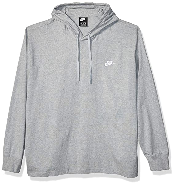 Nike Men's Sportswear Club Jersey Pullover Hoodie, Fleece Hoodies for Men, Dark Grey HeatherWhite, XS