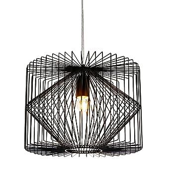 Lux Pro Deckenleuchte Schwarz Metall Pendelleuchte Gitter Esszimmer Deckenlampe Vintage Retro Hangeleuchte Lampe Led Wohnzimmer