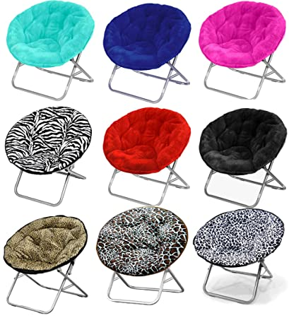 Large Faux Fur Folding Saucer Moon Chair   Lightweight Construction U0026  Oversized Comfy Padded Cushion.