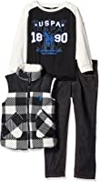 U.S. Polo Assn. Boys' Polar Fleece and Taslon Vest, Long Sleeve T-Shirt and Denim Jean