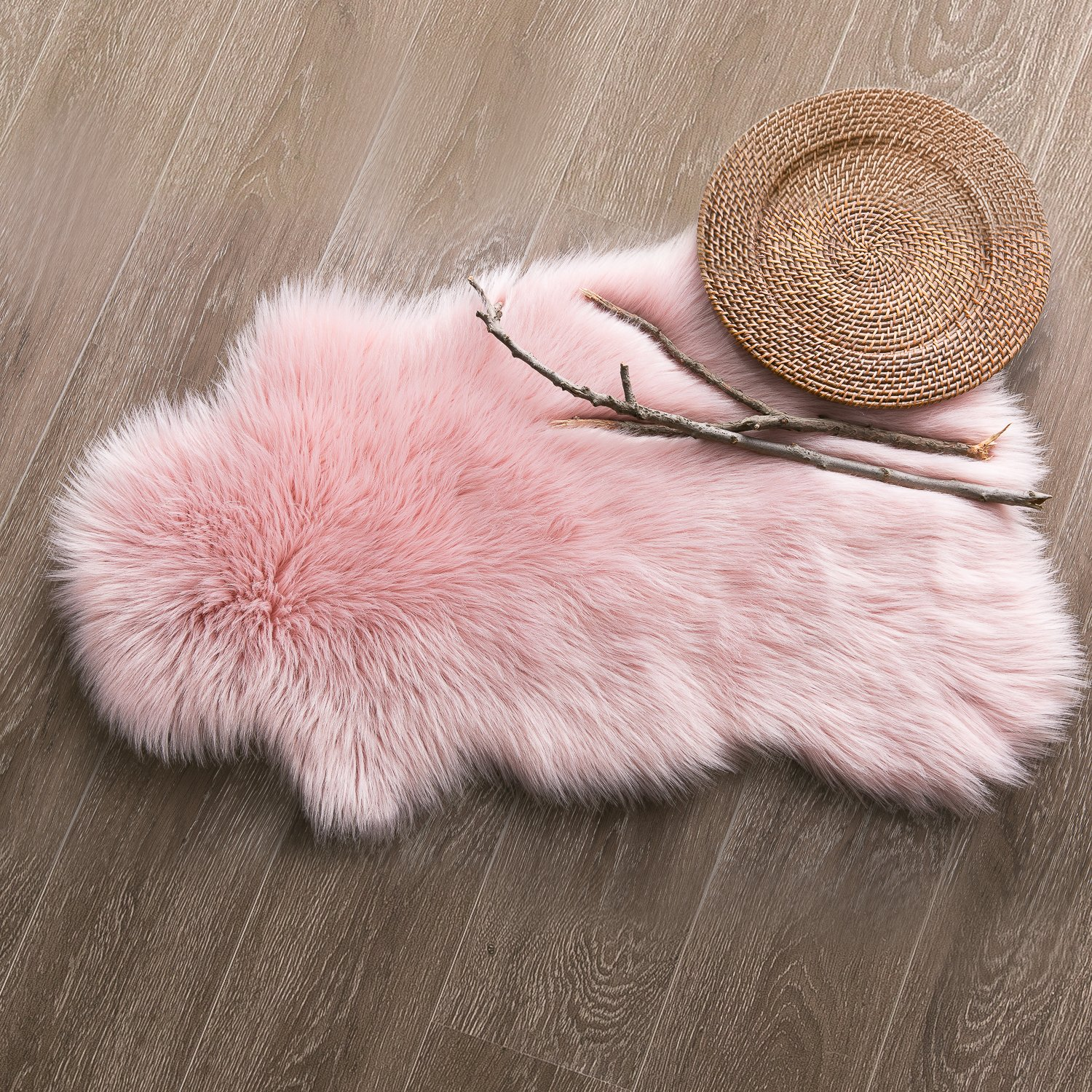Ashler Soft Faux Sheepskin Fur Chair Couch Cover Area Rug For Bedroom Floor Sofa Living Room 2 x 3 Feet Pink by Ashler