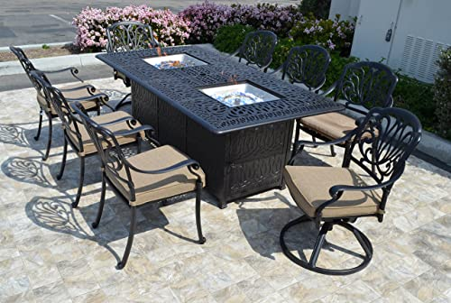 theWorldofpatio Elizabeth Cast Aluminum Powder Coated 9pc Dining Set