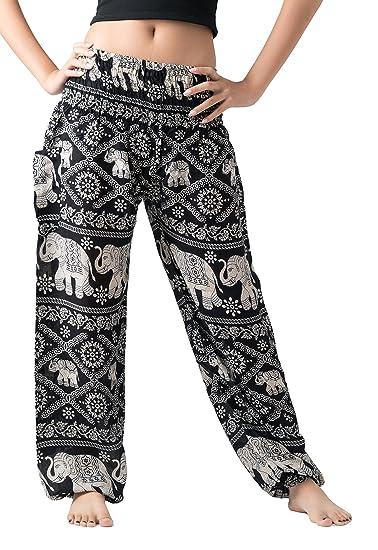 415ddc4419abb7 Bangkokpants Women's Casual Pants Harem Bohemian Clothes Hippie Boho Yoga  Outfits Smocked Waist (Black,