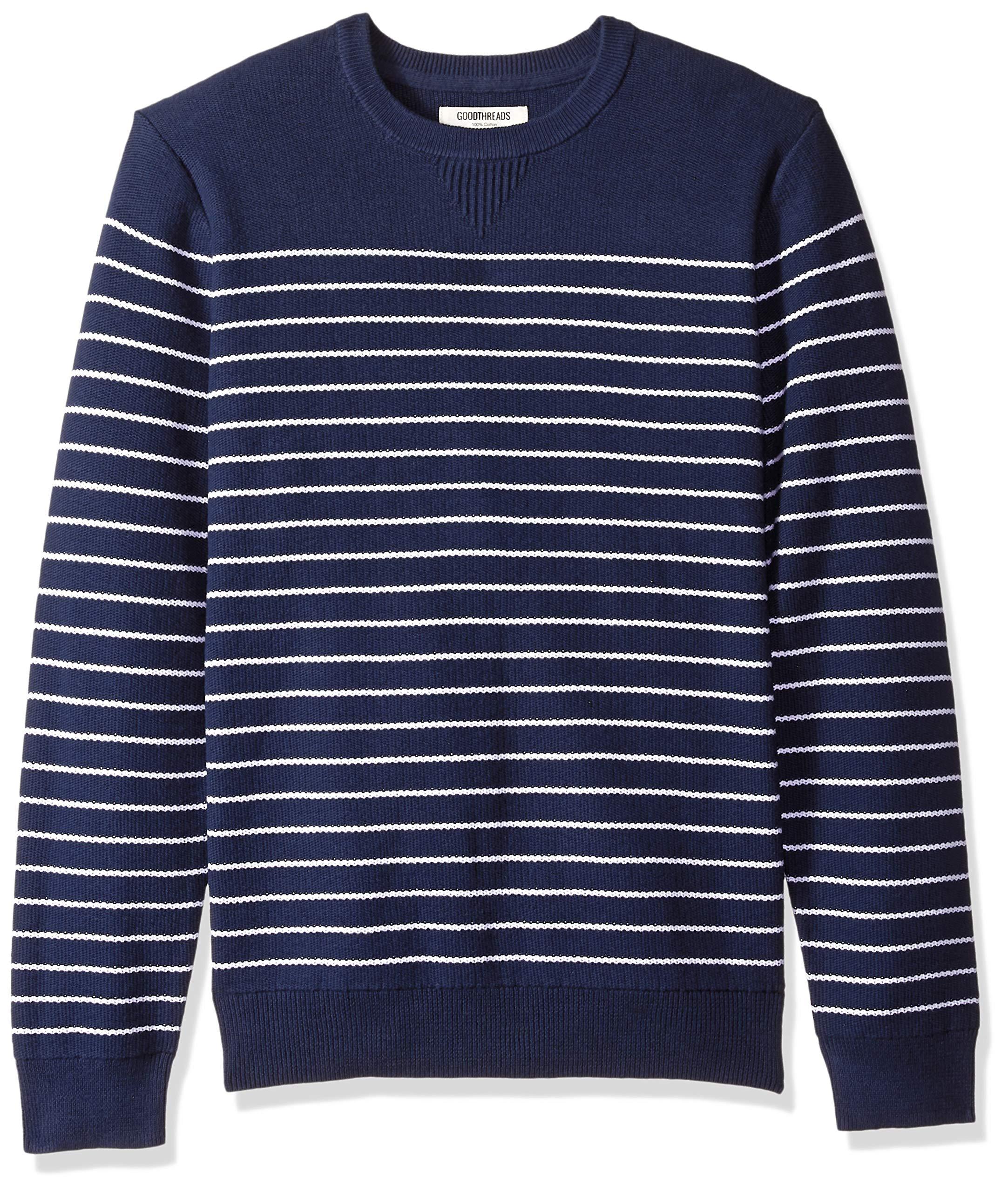 Goodthreads Men's Soft Cotton Striped Crewneck Sweater, Navy/White, Medium Tall