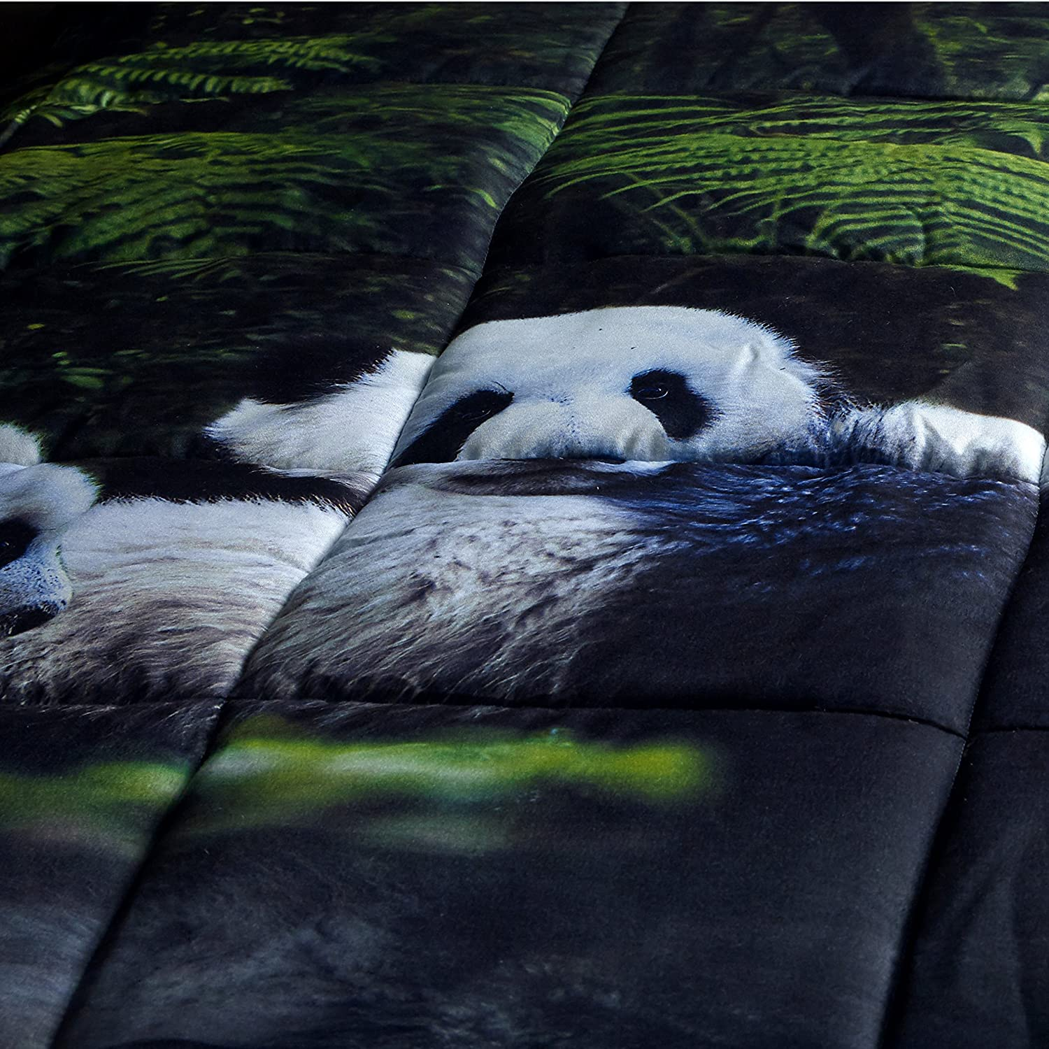 HIG 3D Comforter Set King Breathable Y29 3 Piece 3D Panda Mom and Kids in Forest Print Comforter Set King Size Soft - Box Stitched Fade Resistant -Includes 1 Comforter 2 Shams Hypoallergenic