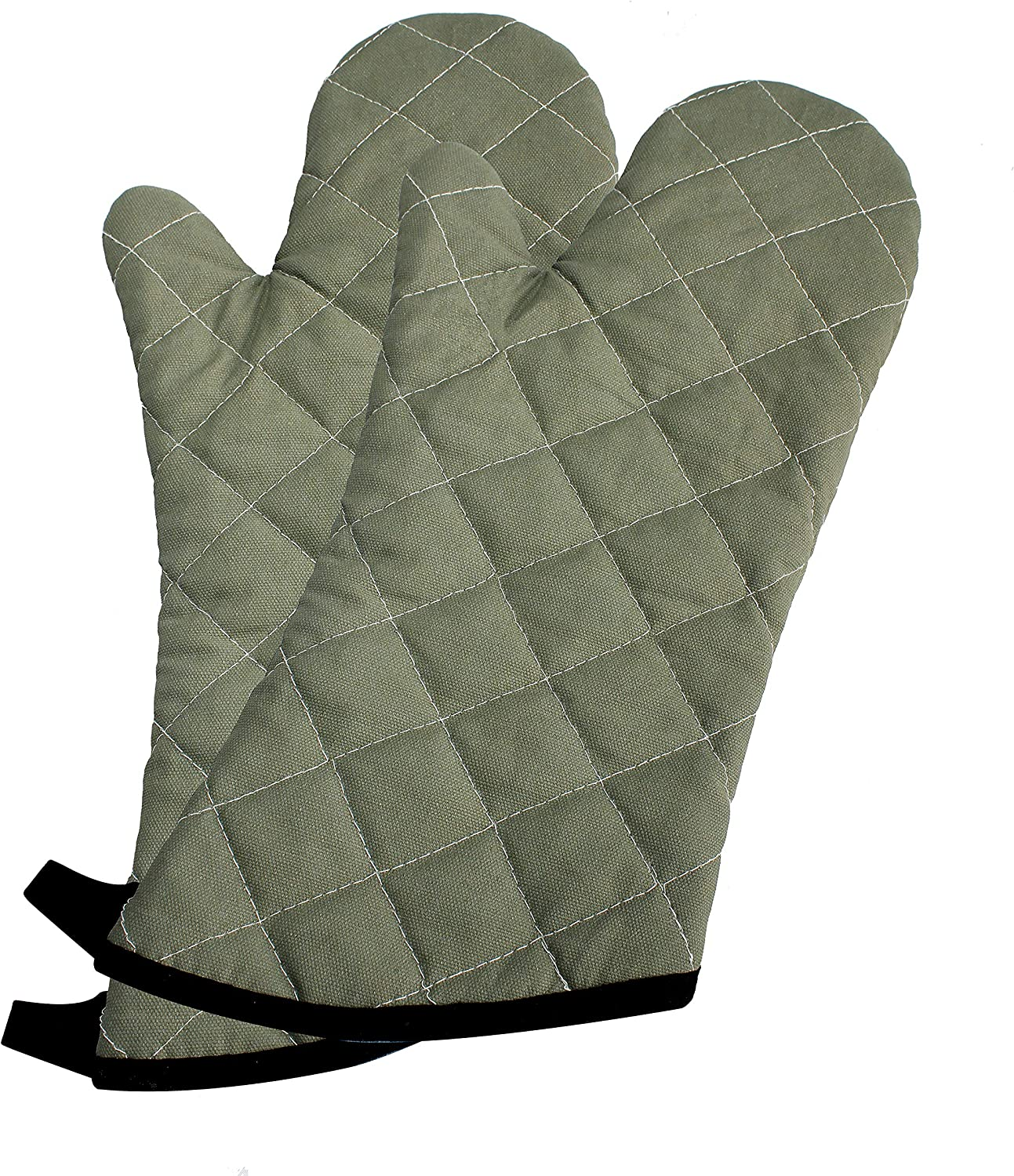 "ARCLIBER Oven Mitts 1 Pair of 15"" Long Quilted Cotton Lining - Heat Resistant Kitchen Gloves,Flame Retardant Mitts,Green 2 Pack"
