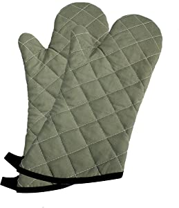 """ARCLIBER Oven Mitts 1 Pair of 15"""" Long Quilted Cotton Lining - Heat Resistant Kitchen Gloves,Flame Retardant Mitts,Green 2 Pack"""