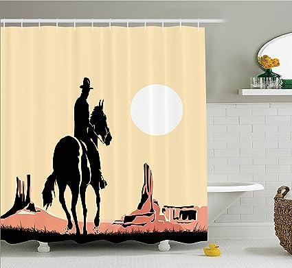 Ambesonne Western Decor Shower Curtain Set Illustration Art Of Cowboy Riding Horse Towards Sunset In