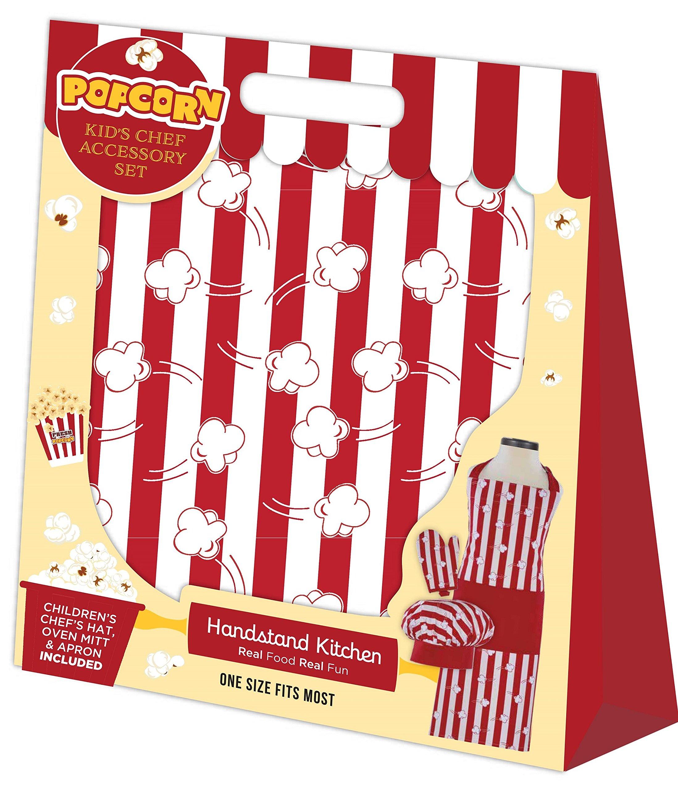Handstand Kitchen Child's Popcorn Aplenty Print 100% Cotton Apron, Mitt and Chef's Hat Gift Set by Handstand Kitchen (Image #3)