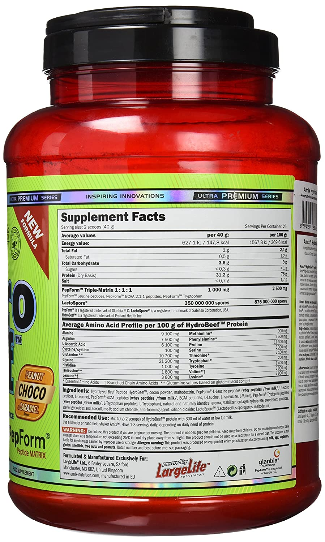 Amix Hydrobeef Peptide, Proteínas con Sabor de Cacahuete, Chocolate y Caramelo, 1000 g: Amazon.es: Salud y cuidado personal