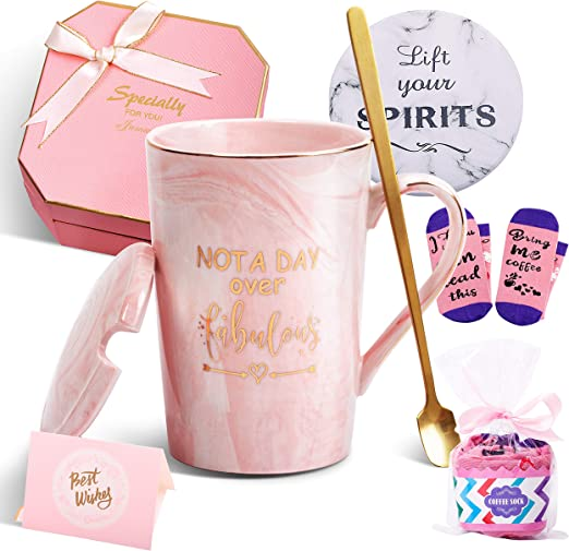 Amazon Com Birthday Gifts For Women Not A Day Over Fabulous Mug Funny Birthday Gifts Ideas For Her Friends Coworkers Her Wife Mom Daughter Sister Aunt Ceramic Marble Coffee Mug 14 Oz