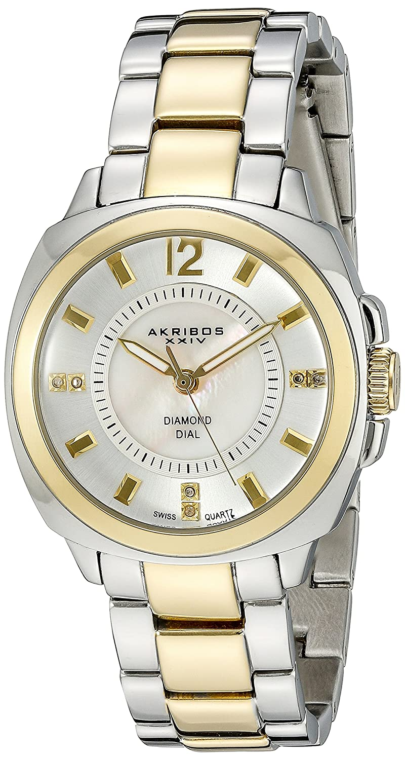 Akribos XXIV Women 's ak668ttg Swiss Quartz Two ToneステンレススチールWatch B011O11ALQ