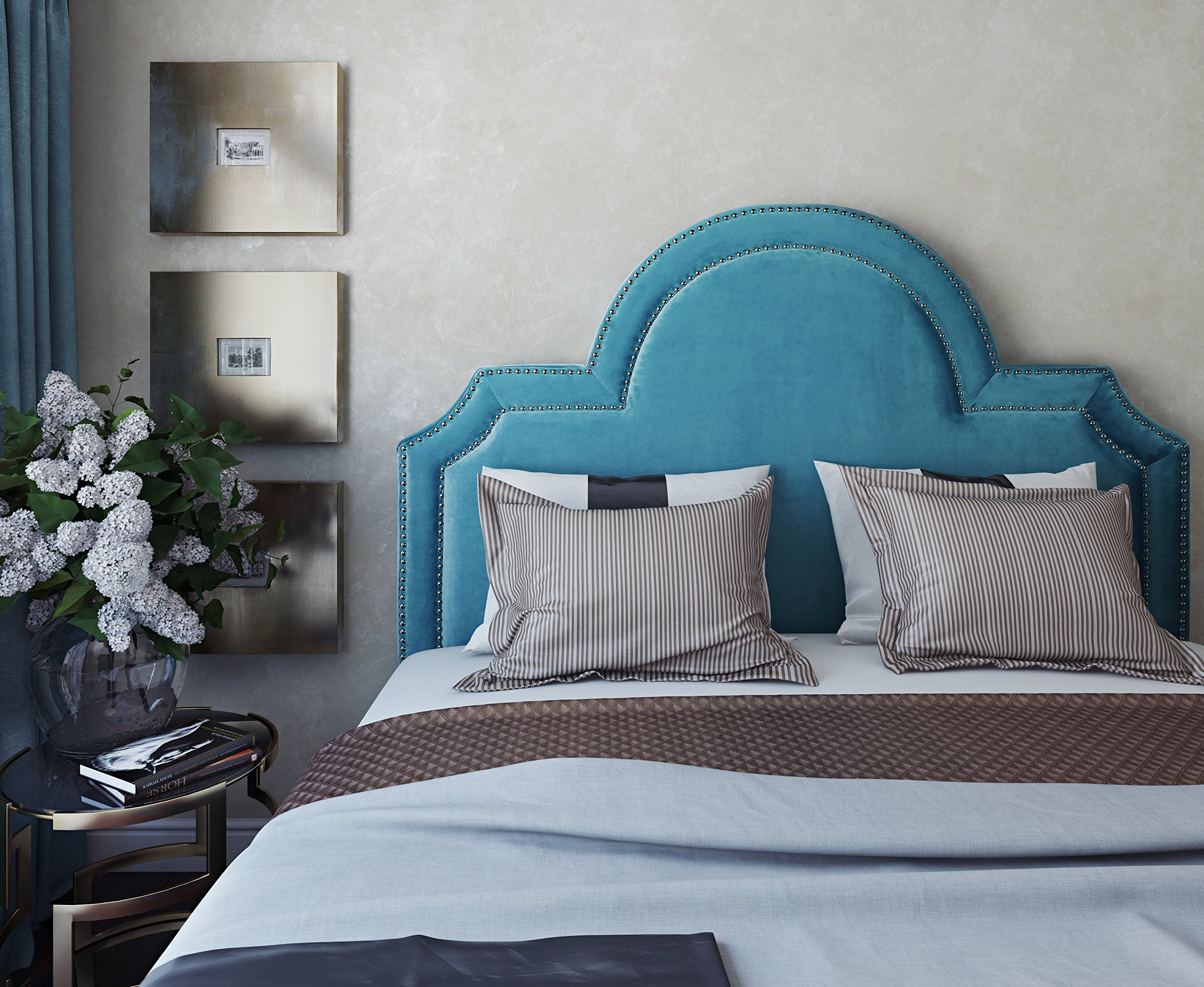 TOV Furniture The Laylah Collection Velvet Upholstered Wood & Metal Headboard, Twin Size, Sea Blue