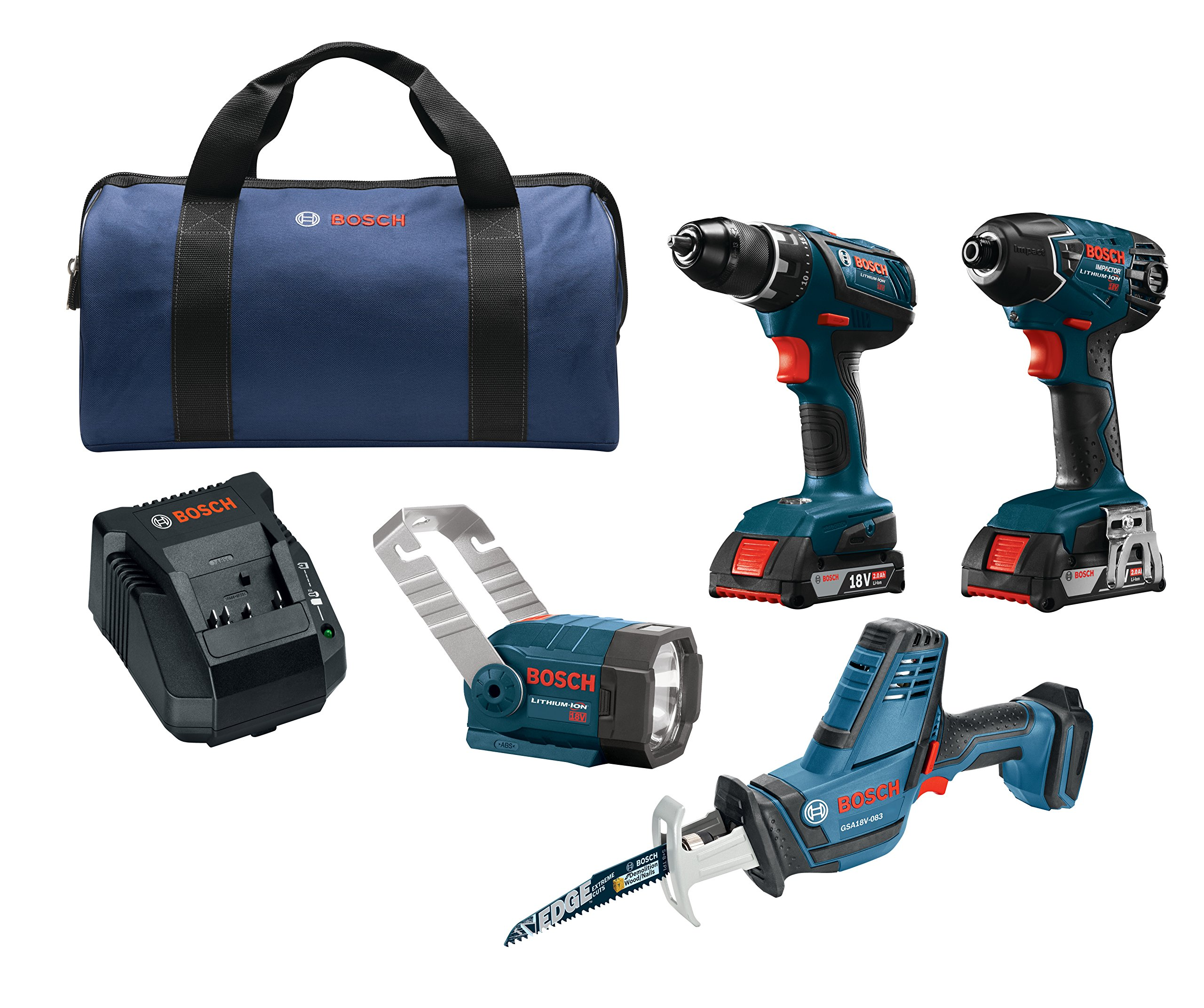 Bosch CLPK495A-181 18V 4-Tool Combo Kit with 1/2 In. Drill/Driver, 1/4 In. Hex Impact Driver, Compact Reciprocating Saw and Flashlight