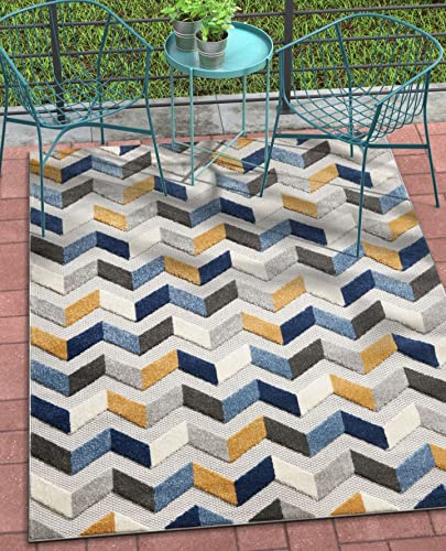 Well Woven Maui Blue Indoor Outdoor Chevron Area Rug 8×11 7 10 x 9 10 High Traffic Stain Resistant Modern Geometric Carpet