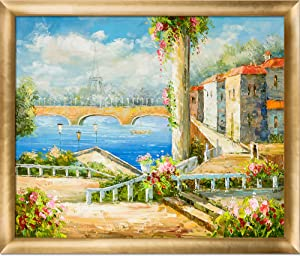 "La Pastiche Resort Near The Eiffel Framed Oil Painting, 27"" x 23"", Multi"