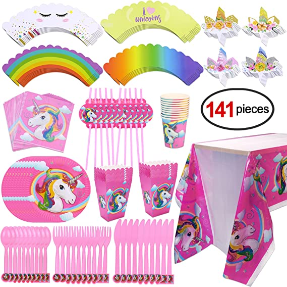 Konsait Kit de Mesa Party Fiesta de Unicornio cumpleaños, (141 ...