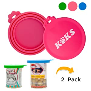 KEKS Pet Can Covers - 2 Pack - BPA Free, Food Grade Silicone Covers - Multisize Pet Food Storage Covers - One Size Fits All Standard Dog Food Cans and Cat Food Cans - Dog Can Lids
