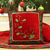 Valery Madelyn 16x16 Inch Traditional Holly Leaves Christmas Decorative Pillow Cover with Plaid Trim and Applique Jewelries,Themed with Tree Skirt(Not Included)