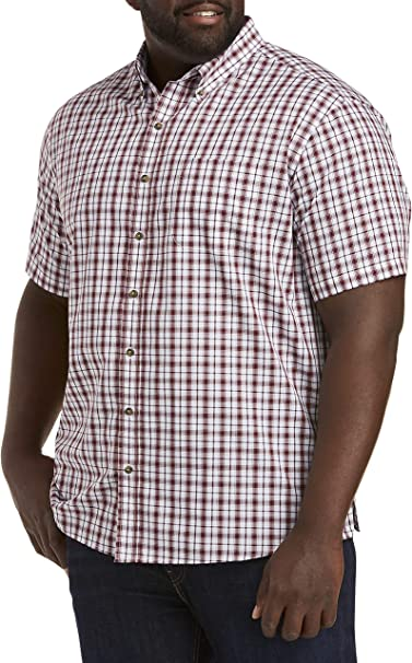 Harbor Bay by DXL Big and Tall Easy-Care Check Sport Shirt