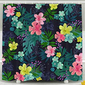 Capsceoll Fabric Shower Curtain Draw Tropical Flower ...