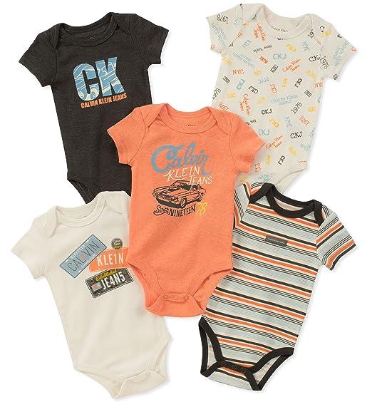 calvin klein bebé niño de 5 paquetes de monos: Amazon.com.mx: Ropa ...