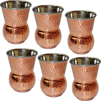 SKAVIJ Tumblers Glasses Set of 6 Copper and Stainless Steel Drinkware Accessory Capacity 400 ML Stylish Tableware Gift Item