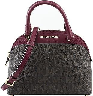 Michael Kors EMMY Womens Shoulder Handbag SMALL DOME SATCHEL (Brown/cherry) 6911