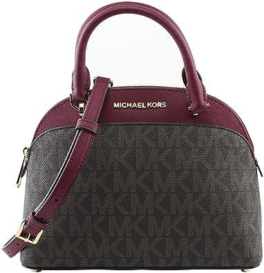 eb528f344097 Michael Kors EMMY Womens Shoulder Handbag SMALL DOME SATCHEL (Brown/cherry)  6911