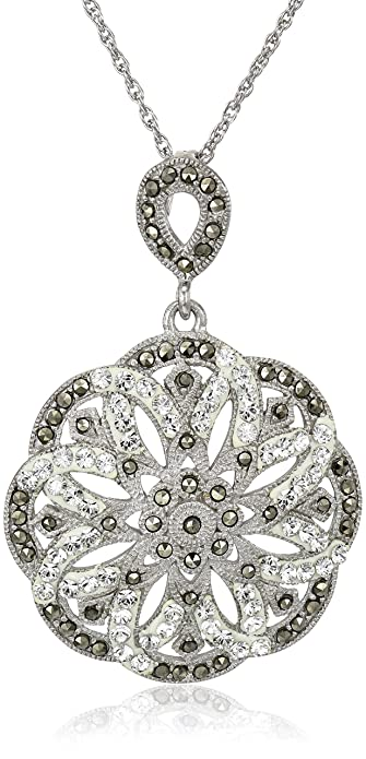 Amazon sterling silver marcasite and clear crystal flower sterling silver marcasite and clear crystal flower pendant necklace 18quot aloadofball Gallery