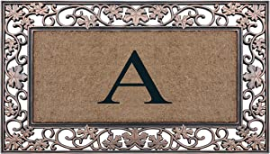 """A1HC Rubber and Coir Dirt Trapper Heavy Weight Large Monogrammed Doormat 23""""X 38"""" (A)"""